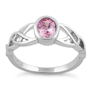 Sterling Silver Oval Pink CZ Celtic Ring