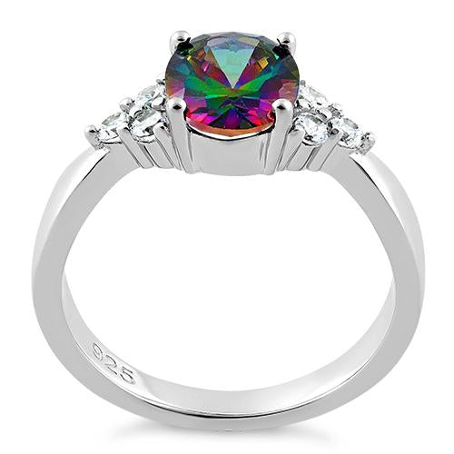 Sterling Silver Oval Rainbow Topaz Ring