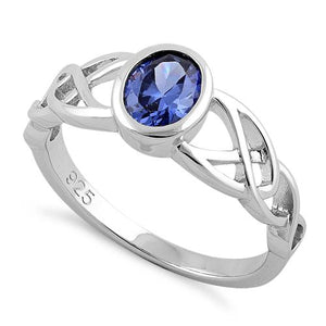 Sterling Silver Oval Tanzanite CZ Celtic Ring