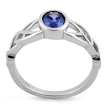 Load image into Gallery viewer, Sterling Silver Oval Tanzanite CZ Celtic Ring