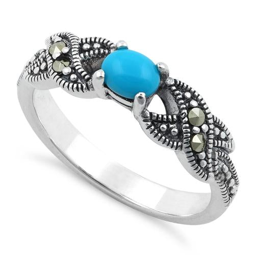 Sterling Silver Oval Simulated Turquoise Marcasite Ring