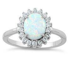 Load image into Gallery viewer, Sterling Silver Oval White Lab Opal CZ Ring