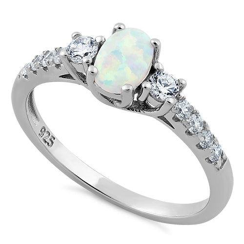 d76912a74f9579 Sterling Silver Oval White Lab Opal CZ Ring