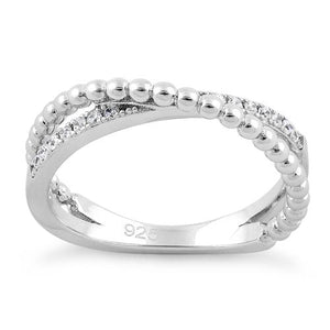 Sterling Silver Overlap Beads CZ Ring