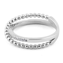 Load image into Gallery viewer, Sterling Silver Overlap Beads CZ Ring