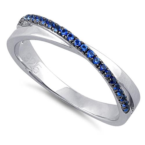 Sterling Silver Overlap Blue CZ Ring