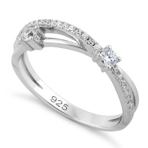 Sterling Silver Overlap CZ Ring