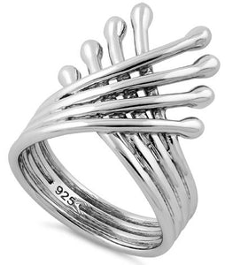 Sterling Silver Overlapping Wings Ring