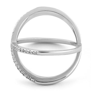 Sterling Silver Overlapping X CZ Ring