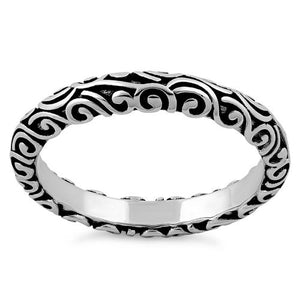 Sterling Silver Oxidized Bali Band Ring