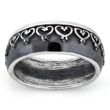 Load image into Gallery viewer, Sterling Silver Oxidized Heart Eternity Ring