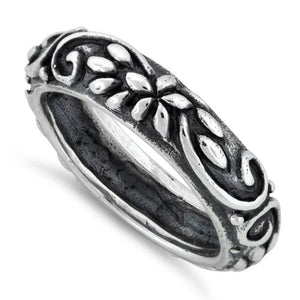 Sterling Silver Oxidized Ornaments Ring