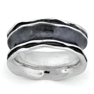 Sterling Silver Oxidized Wavy Thick Ring
