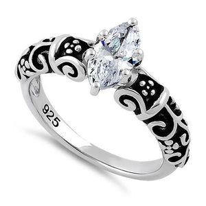 Sterling Silver Oxidized Wild Vines Marquise Cut Clear CZ Ring