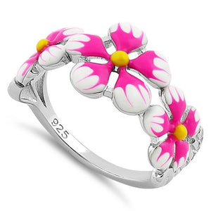 Sterling Silver Hand-Painted Paradise Pink & White Plumeria Enamel Ring