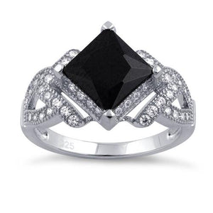Sterling Silver Pave Black CZ Princess Cut Ring