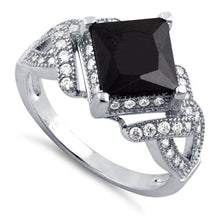 Load image into Gallery viewer, Sterling Silver Pave Black CZ Princess Cut Ring