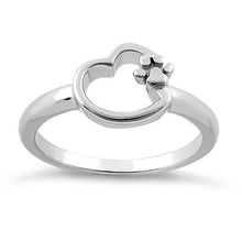 Load image into Gallery viewer, Sterling Silver Paw & Heart Ring