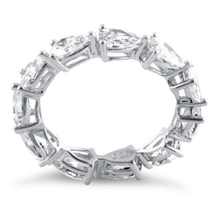 Sterling Silver Pear Clear CZ Eternity Ring