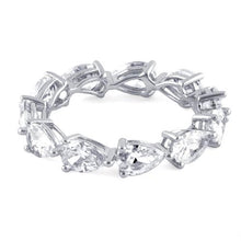 Load image into Gallery viewer, Sterling Silver Pear Clear CZ Eternity Ring