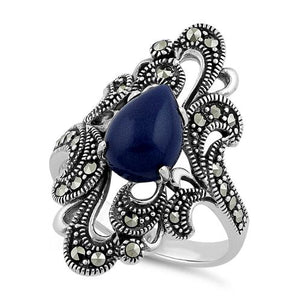 Sterling Silver Pear Shape Blue Lapis Marcasite Ring