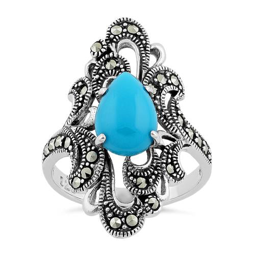 Sterling Silver Pear Shape Simulated Turquoise Marcasite Ring