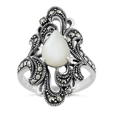 Load image into Gallery viewer, Sterling Silver Pear Shape Mother of Pearl Marcasite Ring