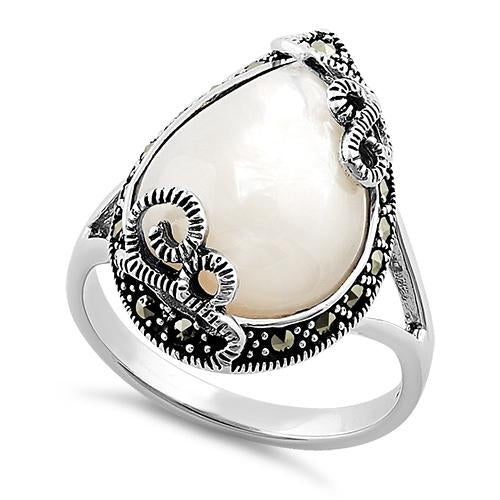 Sterling Silver Pear Shape Mother of Pearl Marcasite Ring