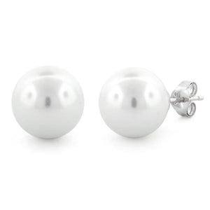 Sterling Silver Synthetic Pearl 12mm Earrings