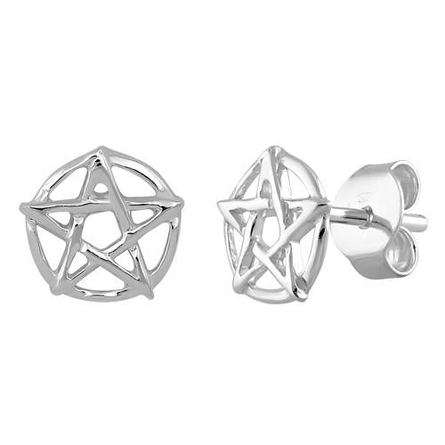 Sterling Silver Pentagram Earrings