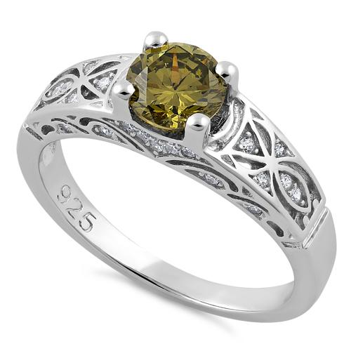 Sterling Silver Peridot Round Cut Engagement CZ Ring