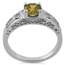 Load image into Gallery viewer, Sterling Silver Peridot Round Cut Engagement CZ Ring