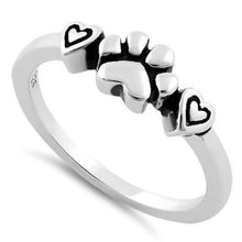 Load image into Gallery viewer, Sterling Silver Pet Love Paw & Hearts Ring