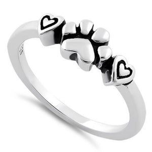 Sterling Silver Pet Love Paw & Hearts Ring