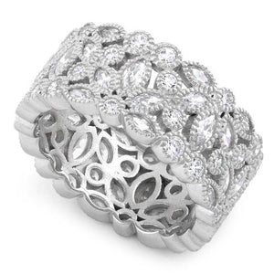 Sterling Silver Petal Eternity CZ Ring