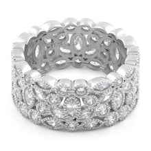 Load image into Gallery viewer, Sterling Silver Petal Eternity CZ Ring