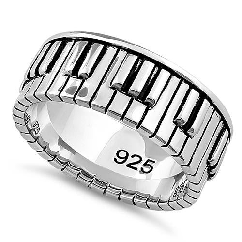 Sterling Silver Piano Keys Ring