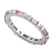 Load image into Gallery viewer, Sterling Silver Pink and White CZ Eternity Ring