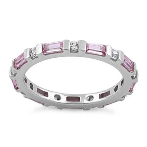Sterling Silver Pink and White CZ Eternity Ring
