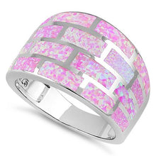 Load image into Gallery viewer, Sterling Silver Pink Bricks Lab Opal Ring