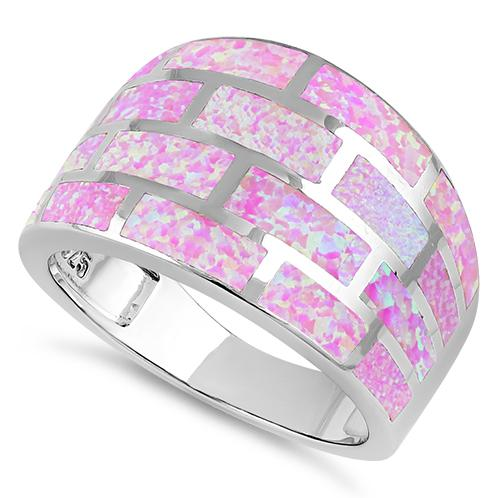 Sterling Silver Pink Bricks Lab Opal Ring