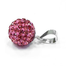 Load image into Gallery viewer, Sterling Silver Pink CZ Ball Pendant
