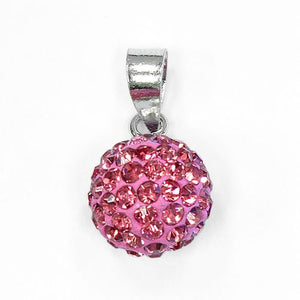 Sterling Silver Pink CZ Ball Pendant