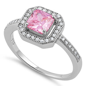 Sterling Silver Pink CZ Cushion Halo Ring