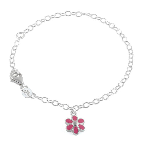 Sterling Silver Pink Enamel Flower Bracelet (Child Size)