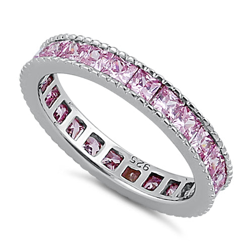 Sterling Silver Pink Eternity Band Ring