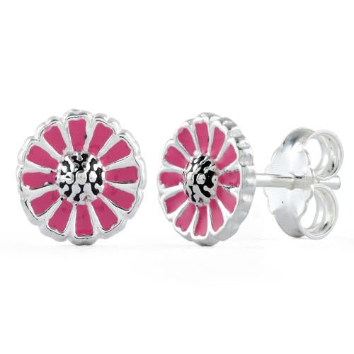 Sterling Silver Pink Flower Enamel Earrings