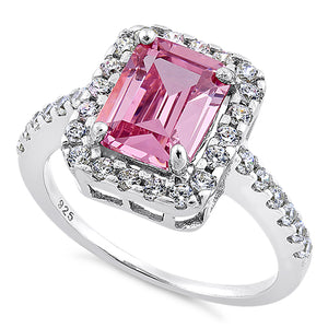 Sterling Silver Pink Halo CZ Ring