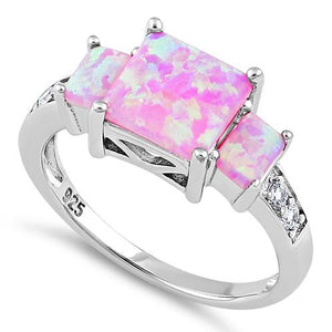 Sterling Silver Pink Lab Opal Square CZ Ring