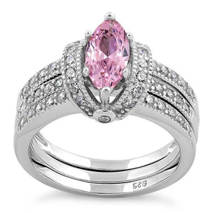 Sterling Silver Pink Marquise CZ Set Ring